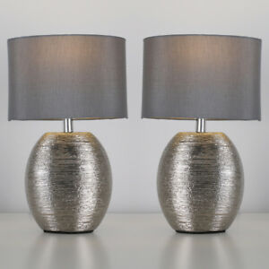 Pair of modern ceramic chrome bedside table lounge lamps with grey image is loading pair of modern ceramic chrome bedside table lounge mozeypictures Image collections