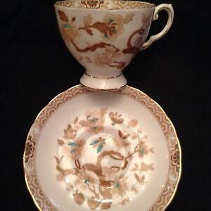 "Tuscan English Bone China Cup & Saucer ""Mandarin - Brown"" Brown/yellow/Teal/Gold"