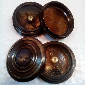 Lot of 2 Pcs Antique Pocket Style 1885 Beautiful Brass Poem Compass With Lid