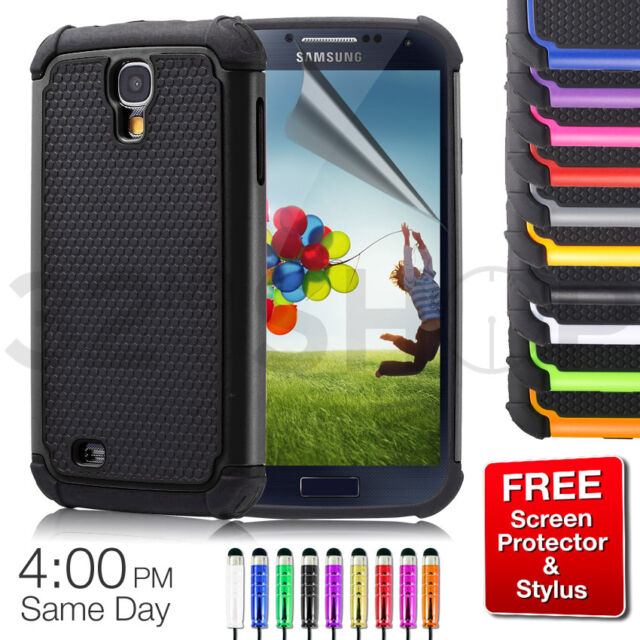 For SAMSUNG GALAXY S4 Mini i9190 SHOCK PROOF CASE COVER+ SCREEN PROTECTOR Stylus
