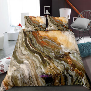 Single-Double-Queen-King-Bed-Doona-Quilt-Duvet-Cover-Set-Pillowcase-Marble-Stone