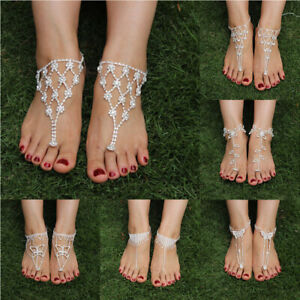 Fashion-Bridal-Crystal-Beach-Barefoot-Sandals-Foot-Toe-Ring-Ankle-Jewelry-Anklet