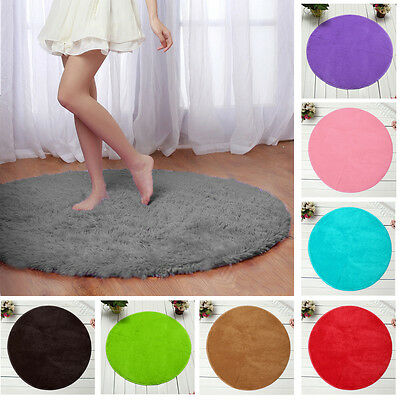 Fluffy Round Foam Shaggy Rug Anti Slip Bedroom Mat Floor Carpet Soft Plush 82cm