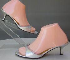 Dolce & Gabbana Sz EU 37.5 (6.5-7) Clear PVC Silver Leather Kitten Heels Sandals