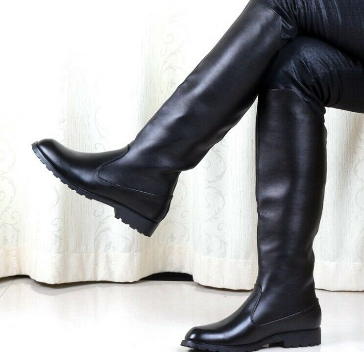 military men's leather black knight knee high boots flat casual shoes Outdoor SZ