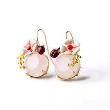 Hermoso Zara Diseño Blanco Opal Flor De Piedra Aros Colgantes Nuevos les Belle