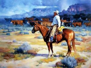 "Jack Sorenson ""Cow Country"" SN Cowboy Cattle Art Print 24"" x 18"""