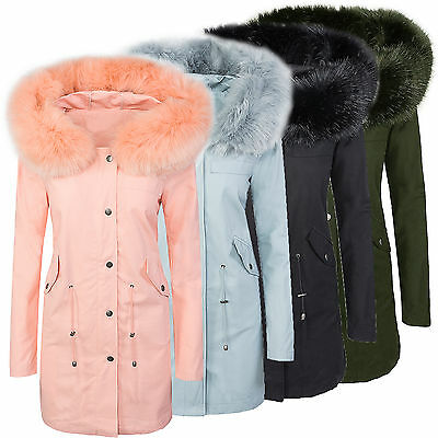 diseño mujer chaqueta de transición Abrigo Con Capucha Cuello Piel d-306 NUEVO