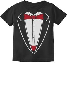 RED BOW TIE tuxedo  funny fancy dress party christmas birthday gift KIDS T SHIRT