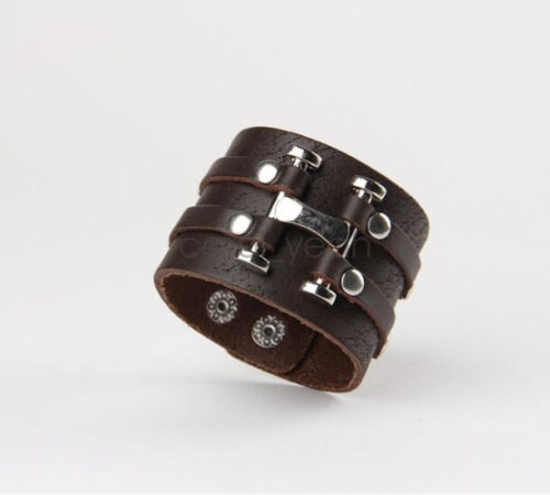 Wide male punk rivet H-type leather brown bracelet special personal temperament
