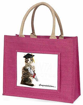Abschlussball Cat 'Glückwunsch 2016' Große Rosa Einkaufstasche Weihnachten,