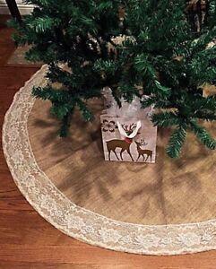 image is loading 48 034 burlap christmas tree skirt with ivory - Burlap Christmas Tree Skirt