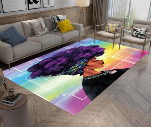 Home Kitchen Bathroom Area Rugs Carpets Non-Slip Mat American Purple Afro Woman