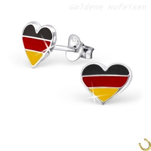 Deutschland Herz Ohrstecker 925 Echt Silber Ohrringe Flagge / Fahne Geschenkidee
