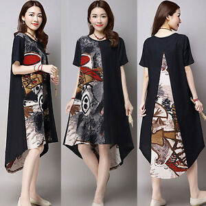 Women-Short-Sleeve-Floral-Print-Cotton-Linen-Loose-Splice-Casual-Long-Maxi-Dress