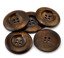 20 Large Dark Brown Coffee Wooden Button - 35mm - 1 3/8 inch -  4 hole  (B21318)