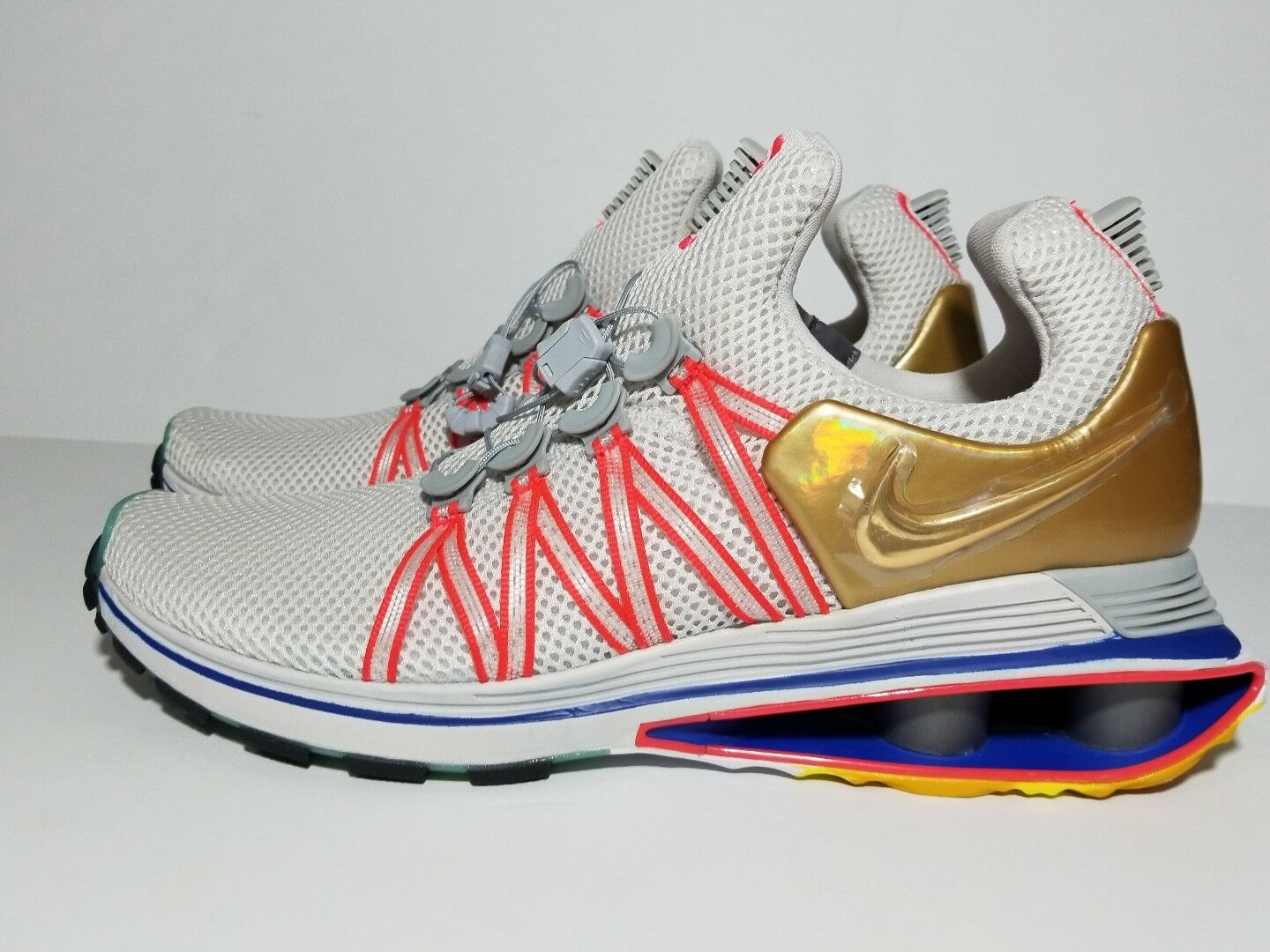 Great discount NEW NIKE Shox GRAVITY Casual running Shoes AQ8553-009 WHITE/GOLD/MULTI c1 Price reduction