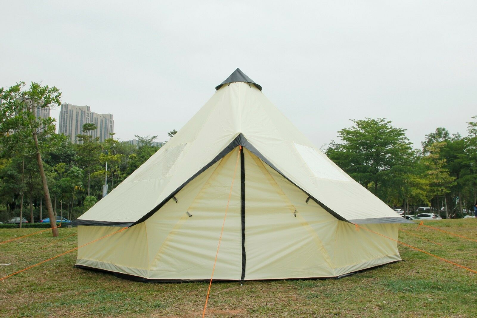 5M Bell Tent Tent Zipped-in-Ground sheet Tent Family 10 Person Camping Tent Bell Beige 6d994b