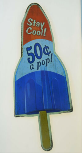 """ICE POP POPSICLE LOLLY CREAM  Retro Old Style Embossed Metal Tin Sign 6x16/"""" NEW"""