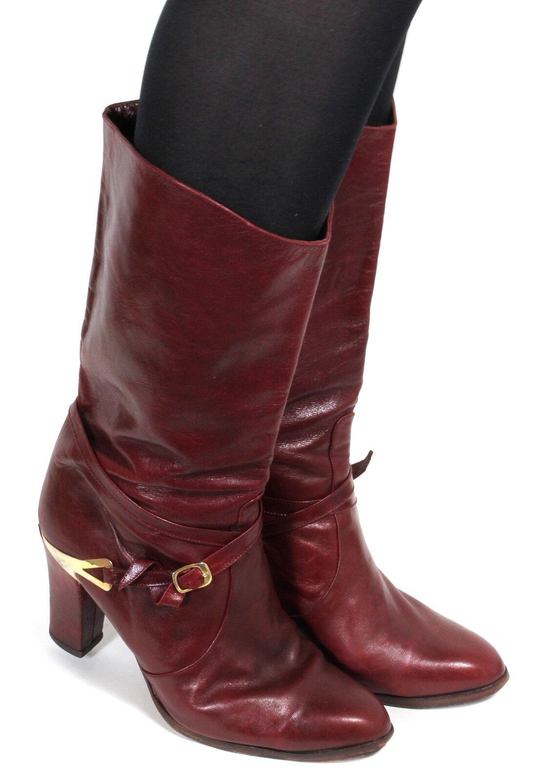 Stivali pelle stivali da donna vintage Ladies stivali Hipster blogger Cinghia oro 39