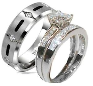 His-and-Hers-Wedding-Rings-Princess-Cz-Wedding-Set-Sterling-Silver-amp-Titanium