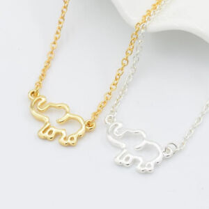 Women-Stainless-Steel-Gold-Chain-Origami-Elephant-Pendants-Necklaces-Jewelry
