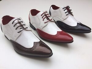 MENS-20s-30s-2-TONE-POINTED-TOE-GANGSTER-SPATS-JAZZ-BROGUES-SHOES-7-8-9-10-11