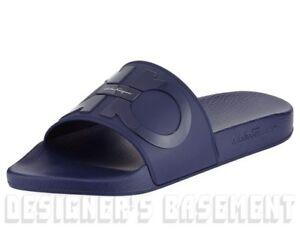 1c7e169a8226 SALVATORE FERRAGAMO men s 8M blue GROOVE slides FLIP-FLOPS shoes NIB ...
