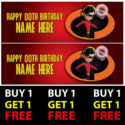 Mr Incredible Personalised Birthday Banners 100gsm Kids Party Decor