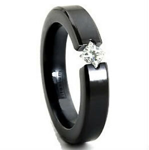 size 11 Titanium TENSION RING with 4mm Round CZ /& Black Plated Accent Band