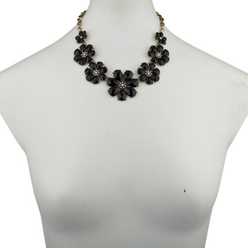 Lux Accessories Black Floral Flower Pave Crystal Statement Necklace