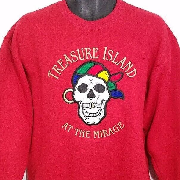 Treasure Island At The Mirage Sweatshirt Vintage 90s Pirate Made In USA Medium