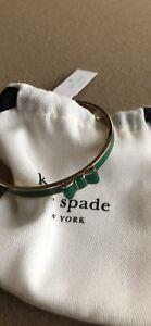 Details About Kate Spade Take A Bow Bracelet Bangle Green Gold Nwt