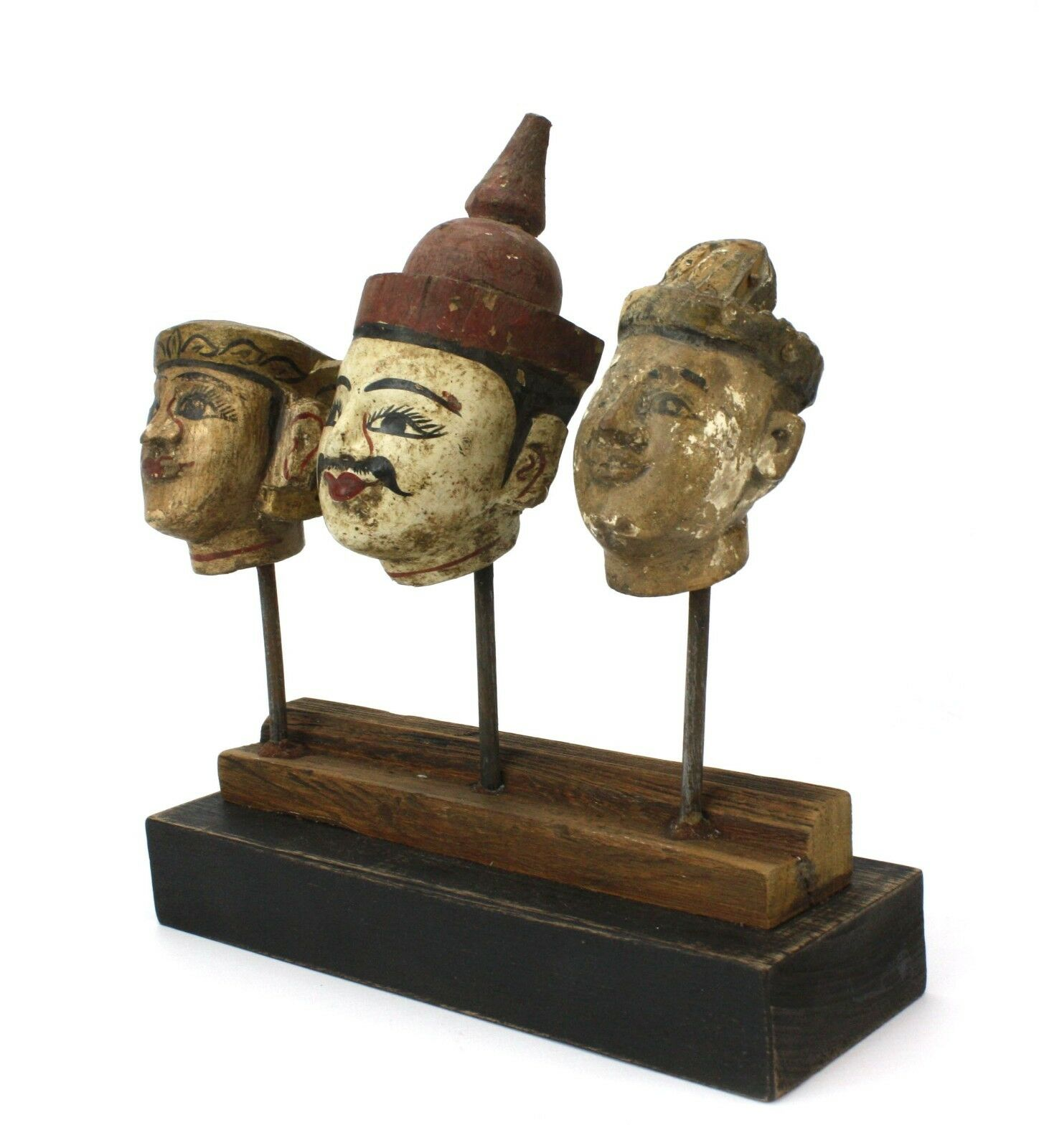 Antique Burmese Puppet heads on stand, BPH003. Vintage Marionette from Burma.