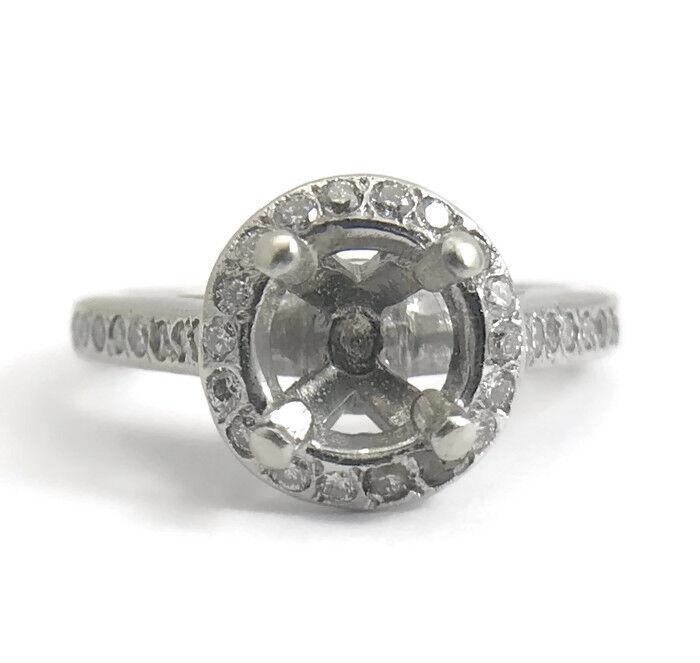 Vintage Diamond Engagement Ring Setting, Mounting, 14K White gold, 4.53 Grams