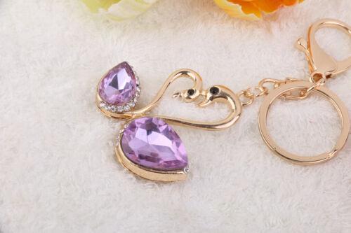 MOTHER /& BABY SWAN Crystal Keyring Keychain Rhinestone Key Holder Bag Charm