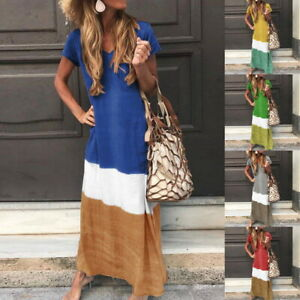 Women-039-s-Cotton-Linen-Boho-Summer-Short-Sleeve-Long-Maxi-Hippie-Beach-Party-Dress