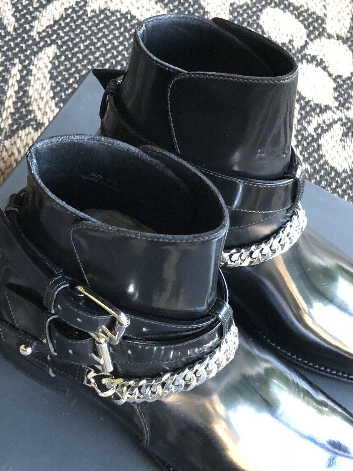 Nuevo En Caja Amiri Jodhpur botas de cadena de Hebilla Negro Brillo US 10  Precio rojoucido