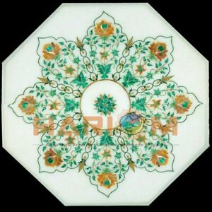 """18"""" White Marble Octagon Coffee Table Top Carnelian Malachite Floral Inlay W426"""