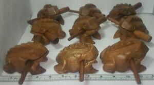 Humour Wholesale Lot De 12 Sculpté 4 In (environ 10.16 Cm) Grenouille Des Bois & Stick Instrument De Percussion-afficher Le Titre D'origine Prix Fou