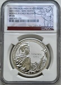2017 Falklands Islands Silver Crown Britannia NGC PF70 With Motto Early Releases