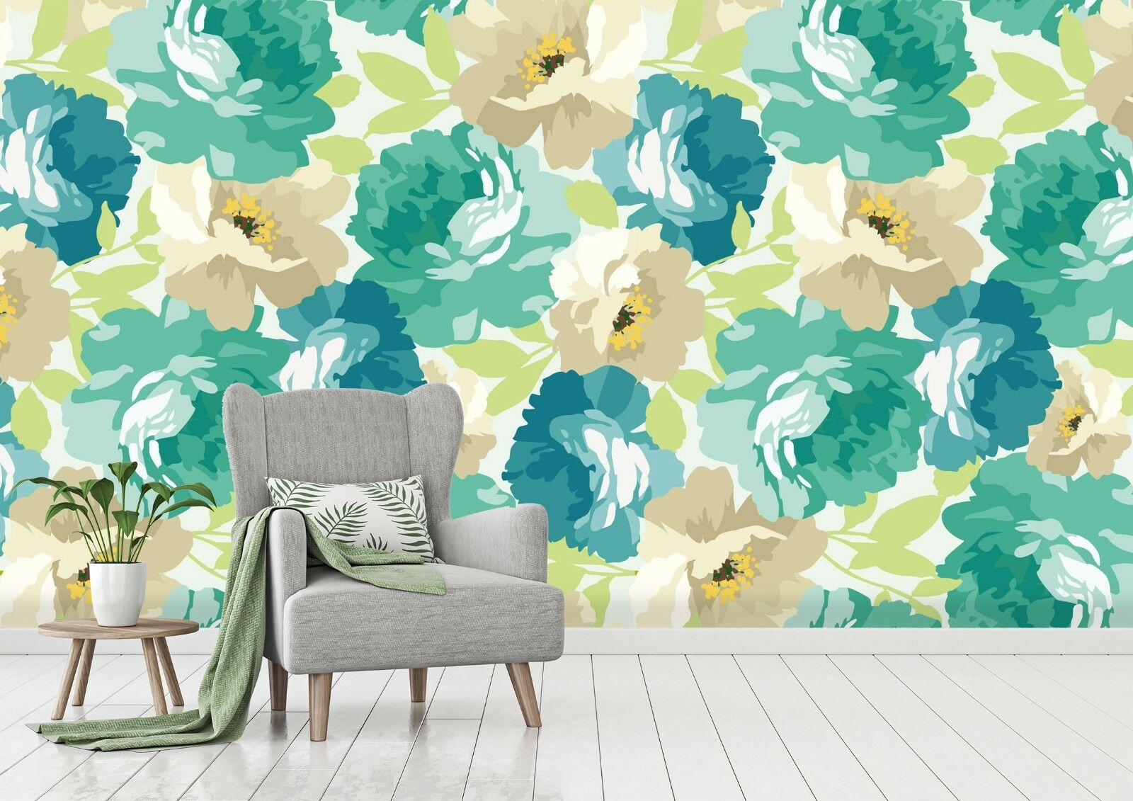 3D Green Floral 864 Wall Paper Murals Wall Print Wall Wallpaper Mural AU Sidney