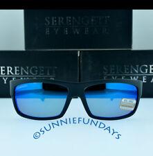 Serengeti Sunglasses Martino 8263 Satin Shiny Black Polarized 555nm Blue Mirror