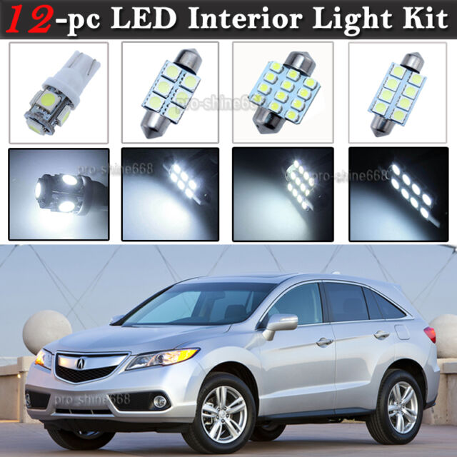 12-pc White 6K LED Car Interior Light Bulbs Package Kit
