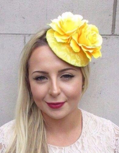 Yellow Rose Flower Pillbox Hat Fascinator Hair Clip Races Wedding Vintage 3837