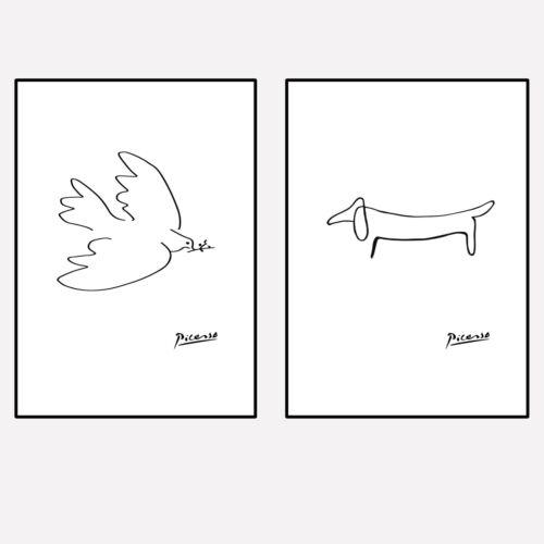 MIP°208 Poster 2er Set A4 A3 Neu Kunstdruck Premium Picasso Art Taube Hund Deko