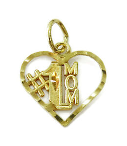 10k-Yellow-Gold-Diamond-Cut-1-Mom-Heart-Charm-Necklace-Pendant-0-5g