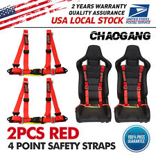 2universal Red 4 Point Buckle Quick Release Racing Seat Belt Harness Nylon New