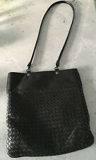 Bottega Veneta Nero Intrecciato Black Crossbody Messenger