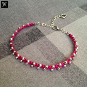 Magenta-Pink-amp-Silver-Beaded-Adjustable-Macrame-Anklet-w-Love-Heart-Charm